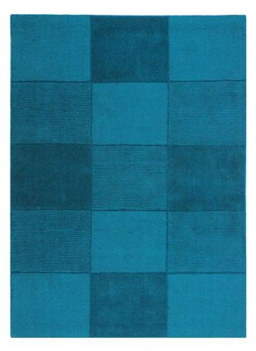 Wool Squares Teal Chequered Rug
